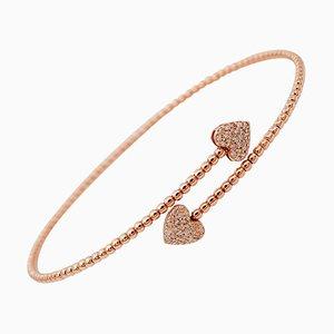 White Diamonds, 18kt Rose Gold Heart Shaped Cuff/Modern Bracelet