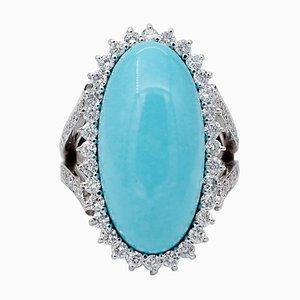 Diamanten, Türkis & 14 Karat Weißgold Ring