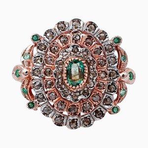 Emeralds, Diamonds, 9 Karat Rose Gold and Silver Retrò Ring