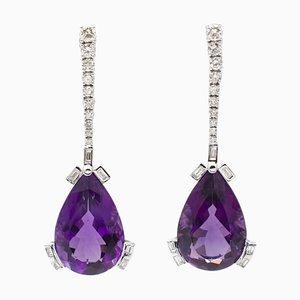 28 Ct Amethyst Drops, Round and Emerald Cut Diamonds, 18 Karat White Gold Earrings