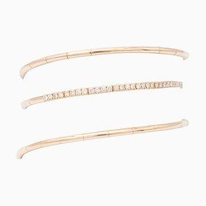 White Diamonds, 18 Karat Rose Gold Spring Shape Bracelet
