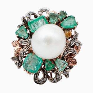 Weißer Perle, Diamanten, Smaragde, 9kt Roségold und Silber Retrò Ring