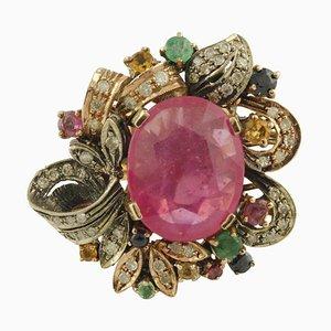 Ring mit Diamanten, Rubinen, Smaragden, blauen und gelben Saphiren, Roségold und Silber