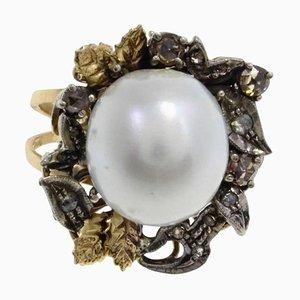 Gold, Silber, Diamant und Australischer Perlenring