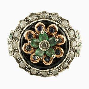 Diamanten, Smaragde, Saphire, Onyx, Roségold und Silber Cocktail Ring