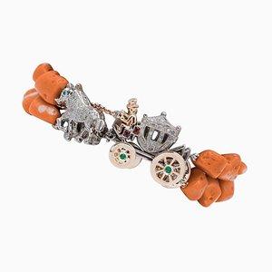 Diamonds, Rubies, Emeralds, Sapphire, Coral, 9 Karat Gold and Silver Carriage Bracelet