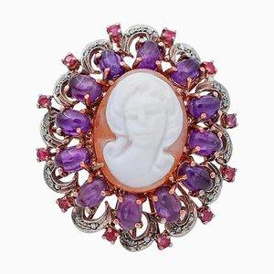 Ring aus Amethyst, Rubinen, Diamanten, Kamee, 9 Karat Roségold und Silber