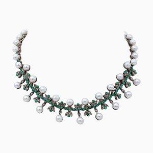 Halskette mit Diamanten, Smaragden, Perlen, 9 Karat Roségold und Silber