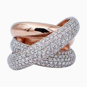 Moderner Ring aus 18 Karat Rosé- und Weißgold mit Diamanten