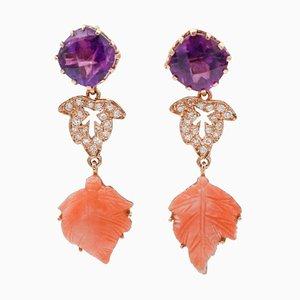 Handgefertigte Ohrringe mit Diamanten, Amethysten, Korallen und 14 Karat Roségold