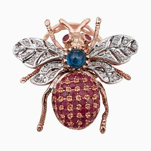 Fly-Shaped Diamonds, Sapphires, Rubies, 9 Karat Rose Gold and Silver Ring