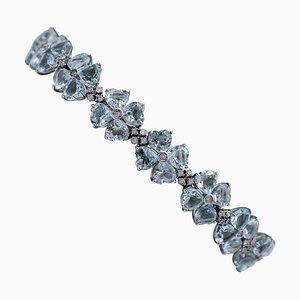 Aquamarine Hearts, Diamonds and 14 Karat White Gold Bracelet
