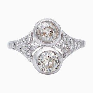 Diamonds and 14 Karat White Gold Ring