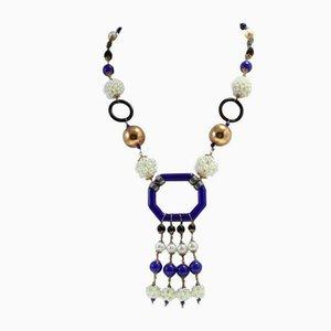 Halskette aus Perle, Onyx, Silber, Stein und Gold