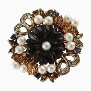 Onyx, Pearls, Blue Sapphires, Diamonds, Rose Gold and Silver Cocktail Ring