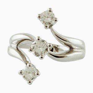 Blue Sapphires, Diamonds and 18 Karat White Gold Engagement Ring
