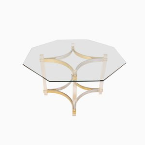 Lucite, Brass, and Chrome Dining Table by Alessandro Albrizzi