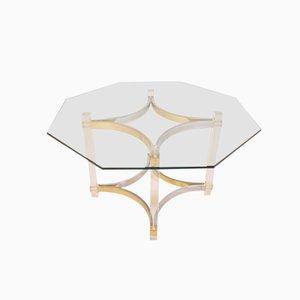 Tavolo da pranzo in lucite, ottone e metallo cromato di Alessandro Albrizzi