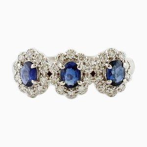 Sapphires, Diamonds and 18 Karat White Gold Ring