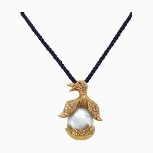 Ancient Handcrafted Pearl, Diamond and Rose Gold Penguin Pendant