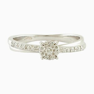 Handcrafted White Diamonds and 18 Karat White Gold Engagement/Solitaire Ring