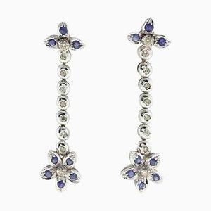 Ohrringe aus Diamant, Saphir und 14 Karat Gold