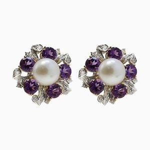 Antike handgefertigte Ohrringe aus Roségold, Weißgold, Amethyst, Diamanten und Perlen