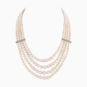 Ancient Handcrafted Pink Spheres, Corals, Diamonds and 14 Karat White Gold Beaded Multi-Strands Necklace
