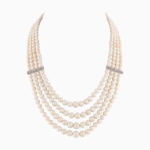 Antike handgefertigte rosafarbene Kugeln, Korallen, Diamanten und 14 Karat Weißgold Perlen Multi-Strang Halskette