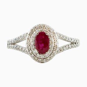 Moderner Ring aus 18 Karat Weißgold mit Diamanten und Rubinen