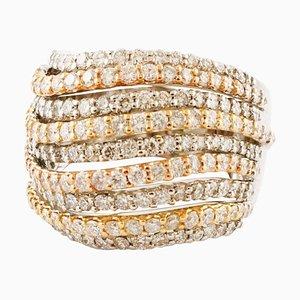 Bandring aus 18 Karat Weiß-, Rosen- und Gelbgold mit Diamanten