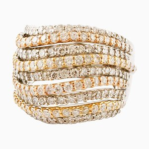 Diamonds, 18 Karat White, Rose and Yellow Gold Band Ring