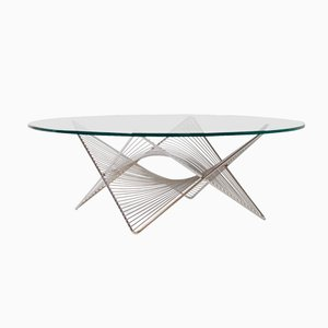 Italian Glass and Chrome Graphic Coffee Table, 1970s