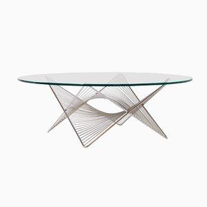 Tavolino da caffè in vetro e metallo cromato, Italia, anni '70