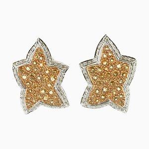 Sternohrringe aus Diamanten, Gelbem Topas, Weiß und Gelbgold