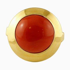 18 Karat Yellow Gold and Rubrum Coral Ring