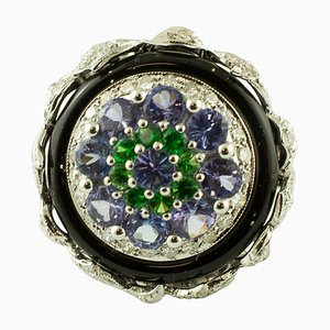 Diamant, Tansanit, Tsavorit, Onyx & Weißgold Ring