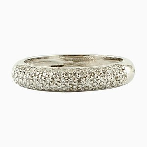 Band Ring in 18K White Gold with Diamonds