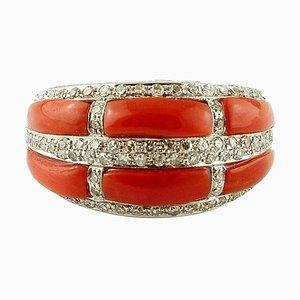 Coral, Diamond & 14K White Gold Band Ring