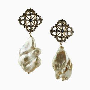Diamant, Blauer Saphir, Barocke Perle, 14 Karat Weißgold & Silber Hängeohrringe