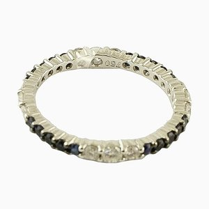 Diamond, Blue Sapphire & 18K White Gold Band Ring