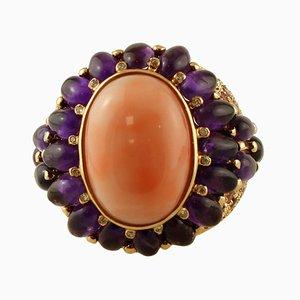 Diamant, Amethyst, Turmalin, Koralle & 14 Karat Gelbgold Ring