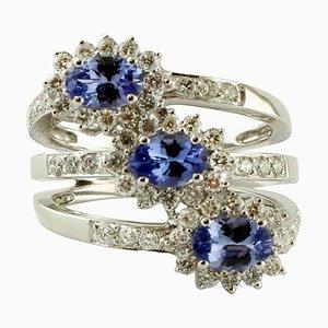 Diamant, Tansanit & 18 Karat Weißgold Ring