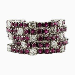 Diamond, Ruby & 14K White Gold Band Ring