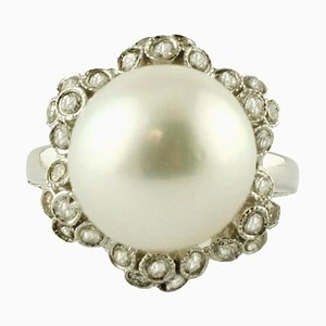 South Sea Pearl, Diamond & 14K White Gold Ring