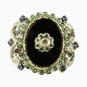 Diamond, Colored Sapphire, Tsavorite, Onyx & 14K White and Rose Gold Ring