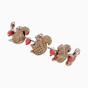Coral, Diamond, 9 Karat Rose Gold and Silver Squirrel Bracelet