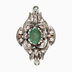 Diamond, Emerald, Rose Gold and Silver Ring