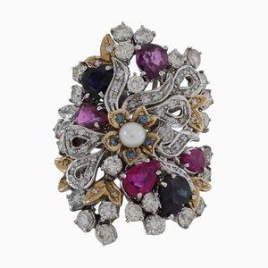 Diamant, Smaragd, Rubin, Perle & Gold Cocktail Ring