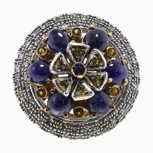 Sapphire, Diamond, Gold and Silver Ring